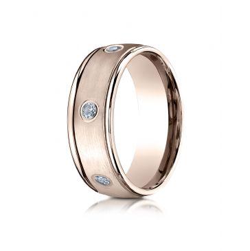 14k Rose Gold 8mm Comfort-Fit burnish Set 6-Stone Diamond Eternity Ring (.48ct)