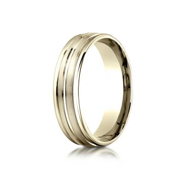 10k Yellow Gold 6mm Comfort-Fit Satin-Finished High Polished Center Trim and Round Edge Carved Design Band