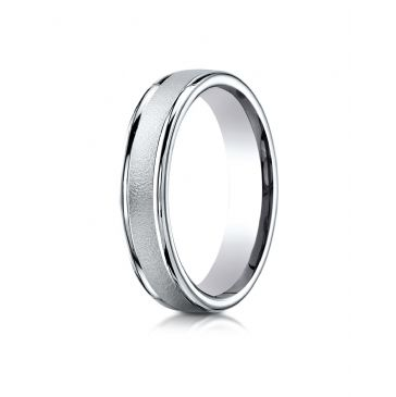18k White Gold 4mm Comfort-Fit Wired-Finished High Polished Round Edge Carved Design Band
