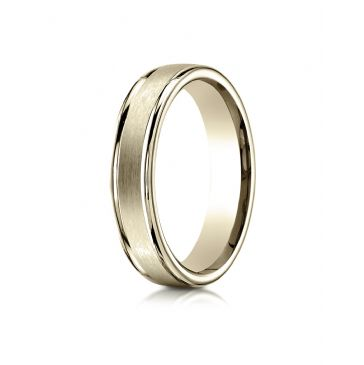 18k Yellow Gold 4mm Comfort-Fit Satin-Finished High Polished Round Edge Carved Design Band