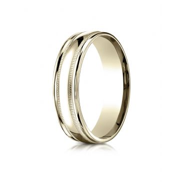 10k Yellow Gold 6mm Comfort-Fit High Polished with Milgrain Round Edge Carved Design Band