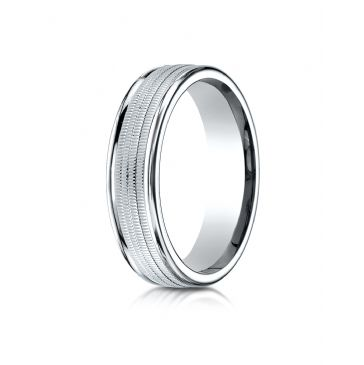 10k White Gold 6mm Comfort-Fit  multi milgrain center high polish round edge Design band