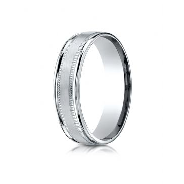 14k White Gold 6mm Comfort-Fit Satin Finish Center with Milgrain Round Edge Carved Design Band