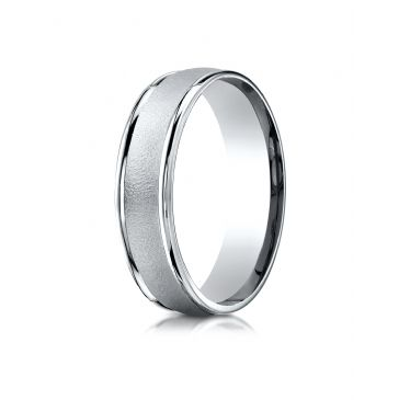 18k White Gold 6mm Comfort-Fit Wired-Finished High Polished Round Edge Carved Design Band