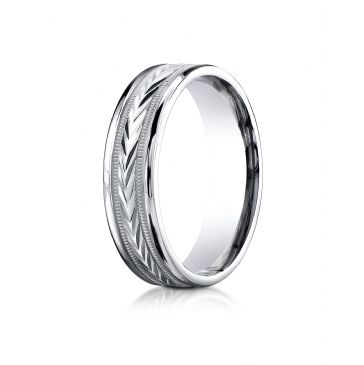 18k White Gold 6mm Comfort-Fit Harvest of Love Round Edge Carved Design Band