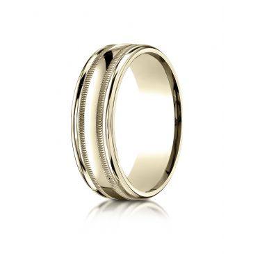 10k Yellow Gold 7mm Comfort-Fit High Polished with Milgrain Round Edge Carved Design Band