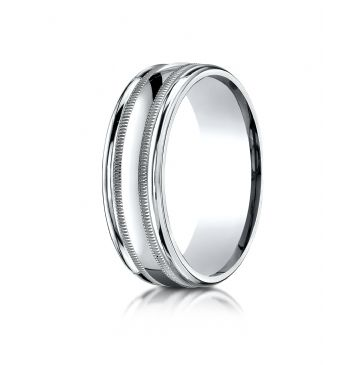 14k White Gold 7mm Comfort-Fit High Polished with Milgrain Round Edge Carved Design Band