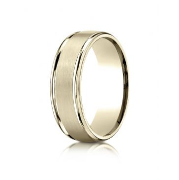 18k Yellow Gold 7mm Comfort-Fit Satin Finish High Polished Round Edge Carved Design Band