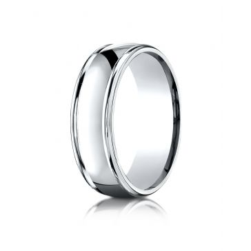 14k White Gold 7mm Comfort-Fit  high polish finish round edge Design band
