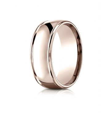 14k Rose Gold 8mm Comfort-Fit  high polish finish round edge Design band
