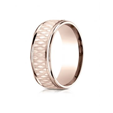 14k Rose Gold 8mm Comfort Fit Round Edge Patterned Design Band