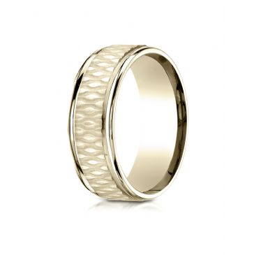 18k Yellow Gold 8mm Comfort Fit Round Edge Patterned Design Band