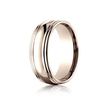 14k Rose Gold 7.5mm Comfort-Fit High Polished Double Round Edge Carved Design Band