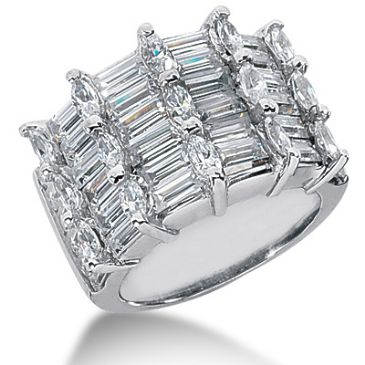 14K Crown Marquise, Straight Baguette Diamond Anniversary Ring (6.9ctw.)