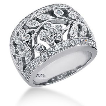 14K White Gold Floral Vine Design Diamond Anniversary Ring (0.75ctw.)