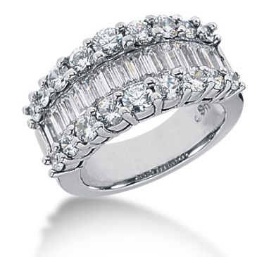 14K Round Brilliant, Straight Baguette Diamond Anniversary Ring (3.88ctw.)