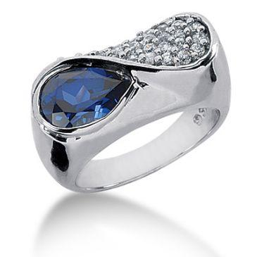 14K 'S' Shaped Diamond Ring Blue Pear Cut Sapphire Pave Set (0.74ctw.)