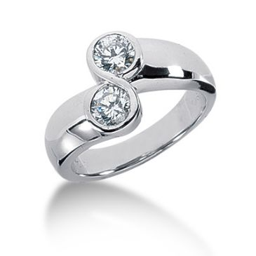 14K White Gold Double Round Brilliant Diamond Anniversary Ring (0.70ctw.)