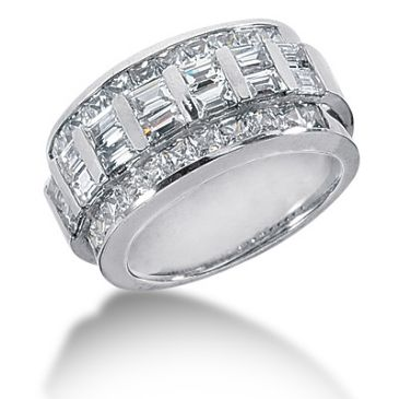 14K Princess Cut, Straight Baguette Diamond Anniversary Ring (2.66ctw.)