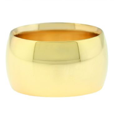 18k Yellow Gold 12mm Comfort Fit Dome Wedding Band Heavy Weight