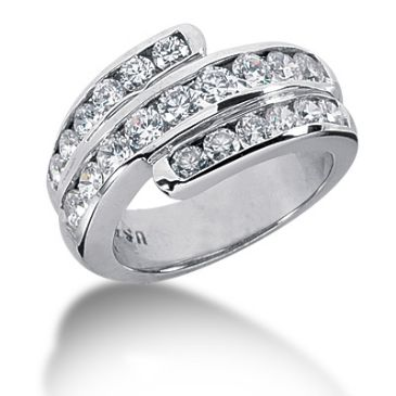 14K Swirled Round Brilliant Diamond Anniversary Ring (1.74ctw.)