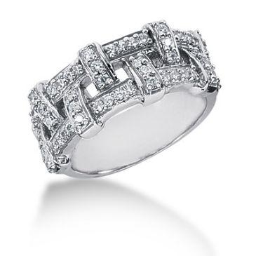 14K Shoelace Design Round Brilliant Diamond Anniversary Ring (0.52ctw.)