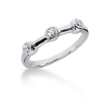 14K Three Stoned Round Brilliant Diamond Anniversary Ring (0.15ctw.)