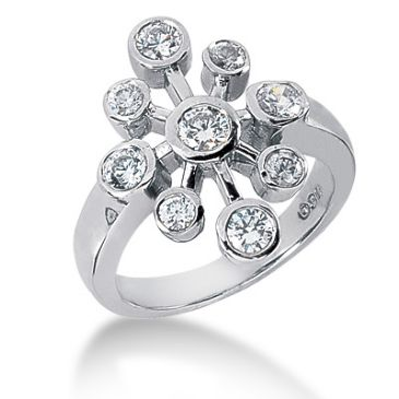 14K White Gold Circling Round Brilliant Diamond Anniversary Ring (0.75ctw.)