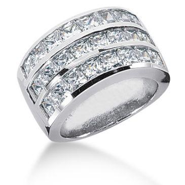 14K White Gold Channel Set Princess Cut Diamond Anniversary Ring (4.43ctw.)