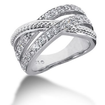 14k Twisted Round Brilliant Diamond Anniversary Ring (0.75ctw.)
