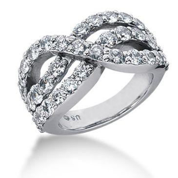 14K Modern Swirl Round Brilliant Diamond Anniversary Ring (2.96ctw.)