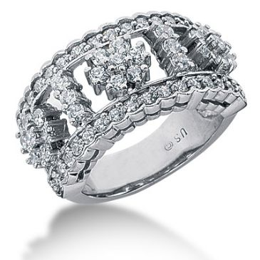 14K Flower Design Round Brilliant Diamond Anniversary Ring (1.29ctw.)