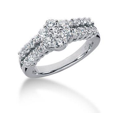 14K Round Brilliant Imbedded Diamond Anniversary Ring (0.97ctw.)