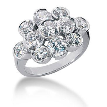 14K Round Brilliant Bubble Diamond Anniversary Ring (3.70ctw.)