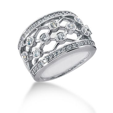 14K Metal Linked Round Brilliant Diamond Anniversary Ring (0.92ctw.)