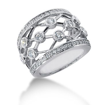 14K Open Spaced Links Round Brilliant Diamond Anniversary Ring (1.34ctw.)