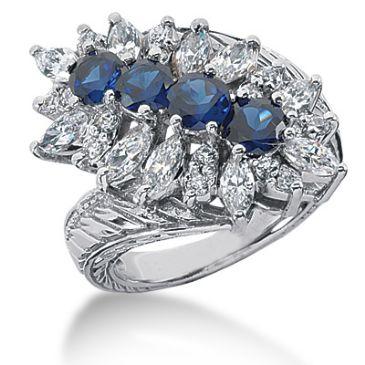 14K Marquise, Round Brilliant Sapphire Diamond Anniversary Ring (3.4ctw.)