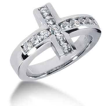 14K White Gold Round Brilliant Diamond Cross Anniversary Ring (0.94ctw.)