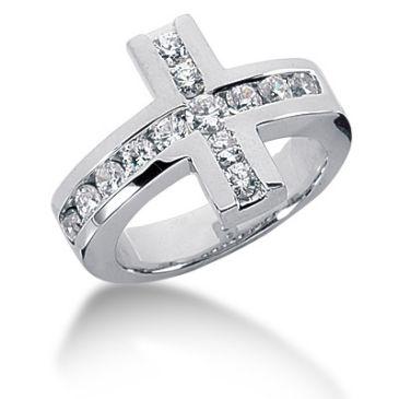 14K Cross, Round Brilliant Diamond Anniversary Ring (1.01ctw.)