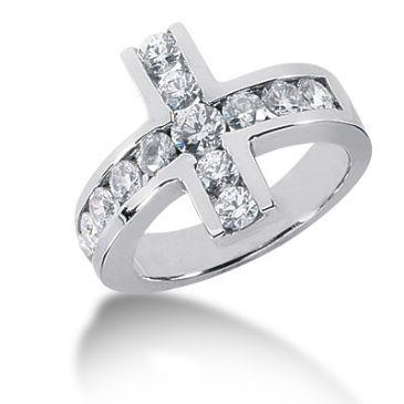 14K Horizontal Cross, Round Brilliant Diamond Anniversary Ring (1.25ctw.)