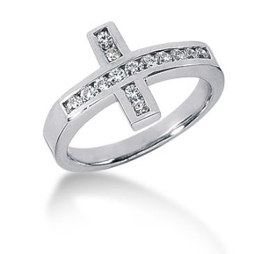 14K Cross Design Round Brilliant Diamond Anniversary Ring (0.28ctw.)