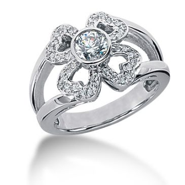 14k Heart Design Round Brilliant Diamond Anniversary Ring (0.63ctw.)