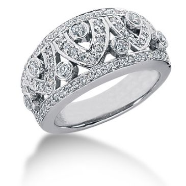 14K Open Wave Round Brilliant Diamond Anniversary Ring (0.89ctw.)