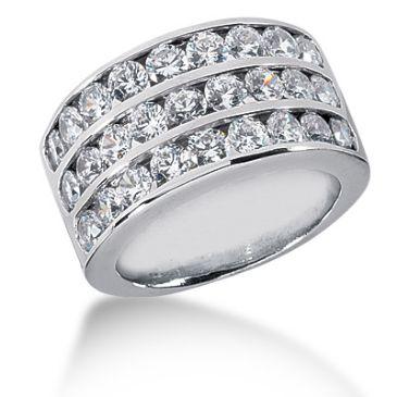 14K 3 Liner Round Brilliant Diamond Anniversary Ring (2.43ctw.)