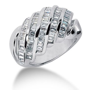 14K Angled Straight Baguette Diamond Anniversary Ring (1.4ctw.)