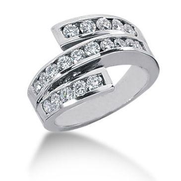 14K Wide Spiraled Round Brilliant Diamond Anniversary Ring (0.9ctw.)