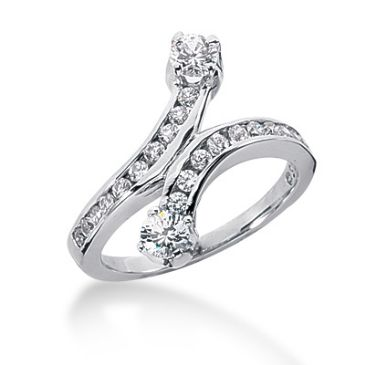 14K Snake Design Round Brilliant Diamond Anniversary Ring (0.8ctw.)