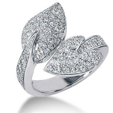 14K Leaf Design Round Brilliant Diamond Anniversary Ring (1.22ctw.)