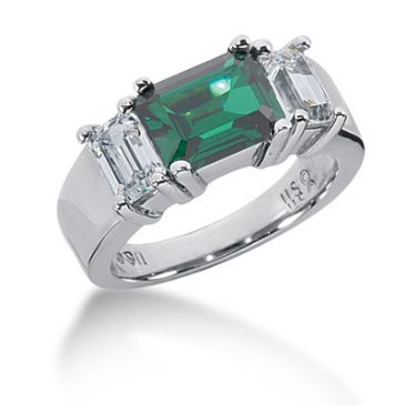14K White Gold Emerald Diamond Anniversary Ring (1.32ctw.)