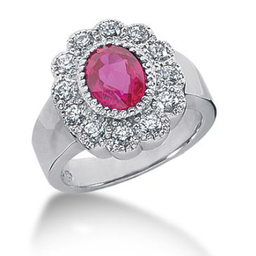 14K Ruby, Round Brilliant Diamond Pave Set Ring (0.6ctw.)
